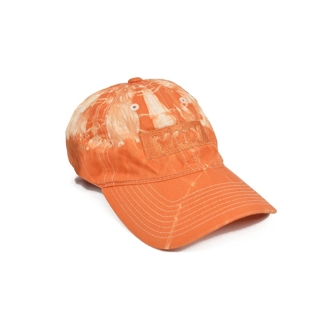 Orange & White Lightning Tie Dye Cap - YAW DENIM