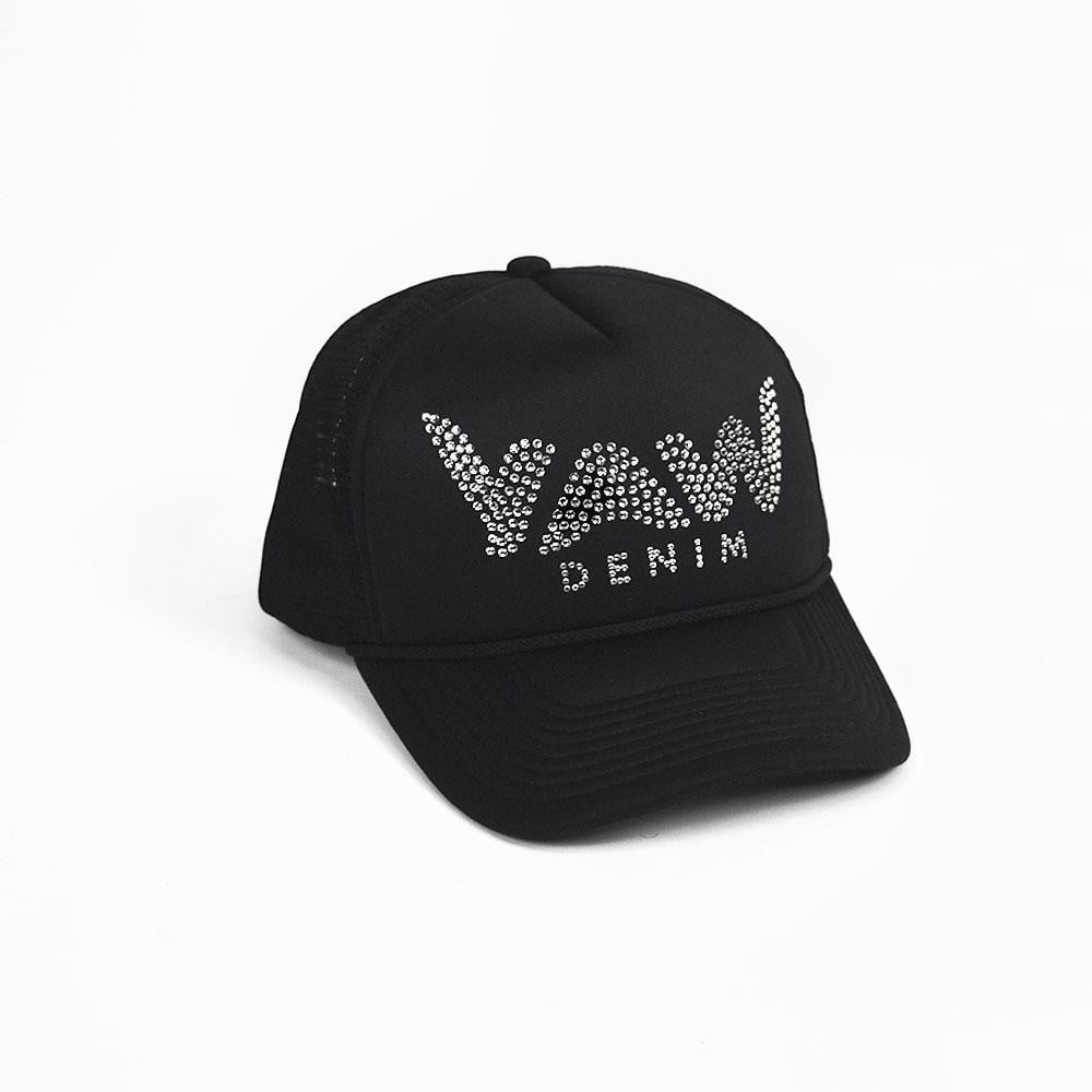 Black Trucker Hat with Swarovski Crystals - YAW DENIM