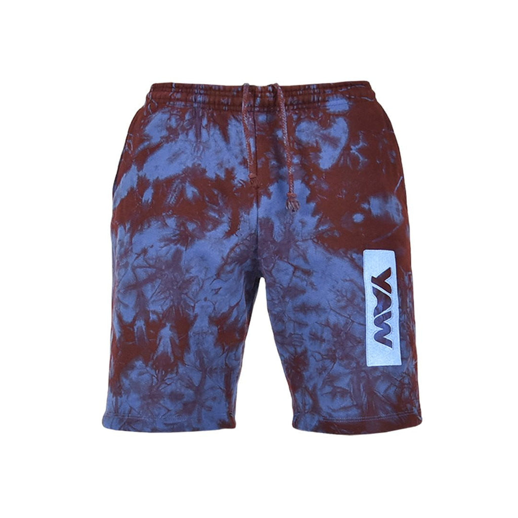 Men Royal Blue and Burgundy Lightning Shorts - YAW DENIM