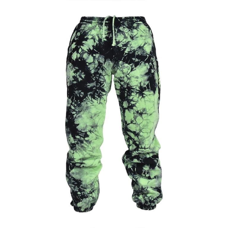 Slime Green Lighting Tie Dye Sweatpants - YAW DENIM
