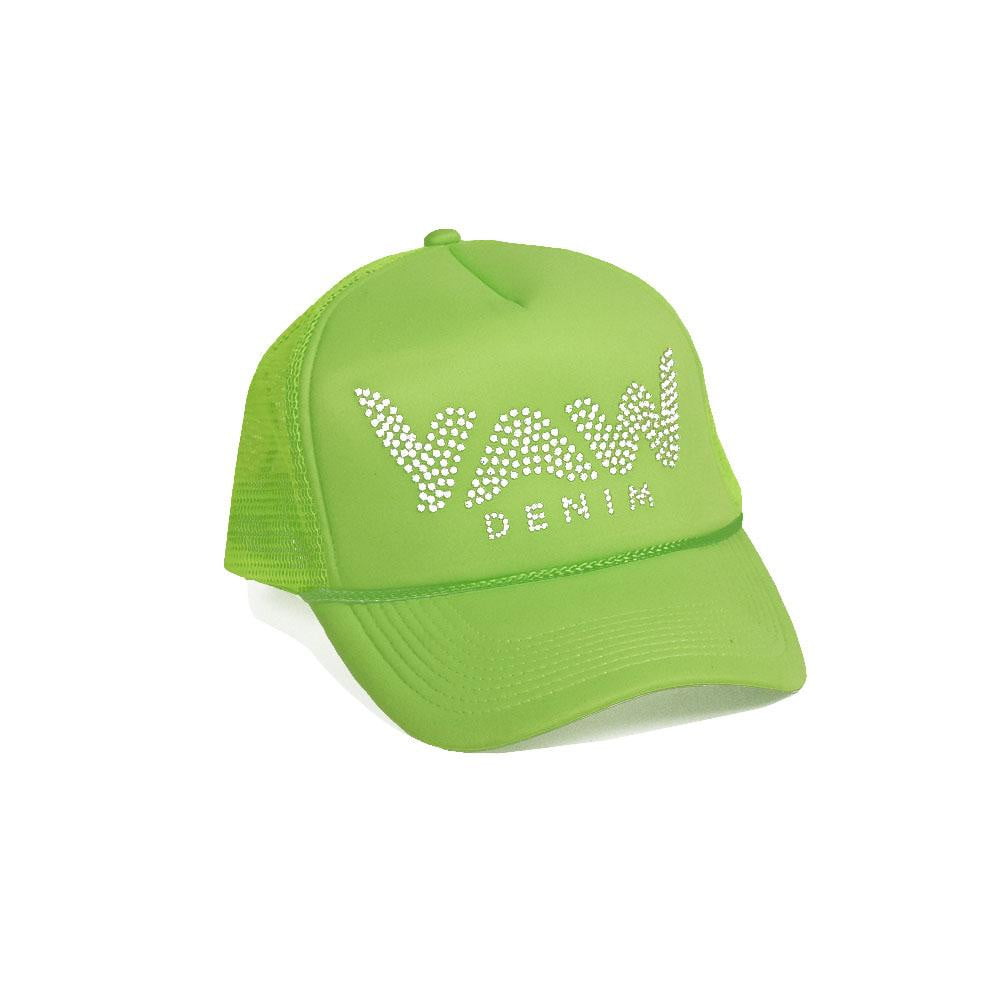 Green Trucker Hat with Swarovski Crystals - YAW DENIM