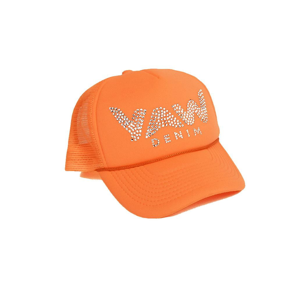 Orange Trucker Hat with Swarovski Crystals - YAW DENIM