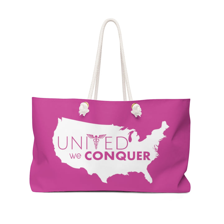 United We Conquer Weekender Bag in Fuschia