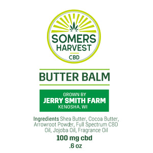 Somers Harvest CBD Butter Balm Package Label