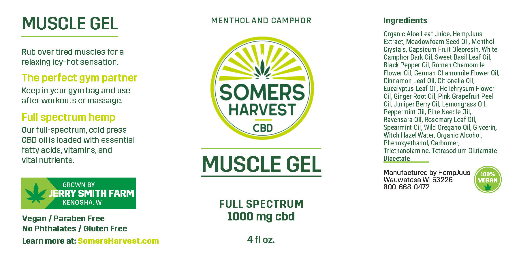 Somers Harvest CBD Muscle Gel Package Label