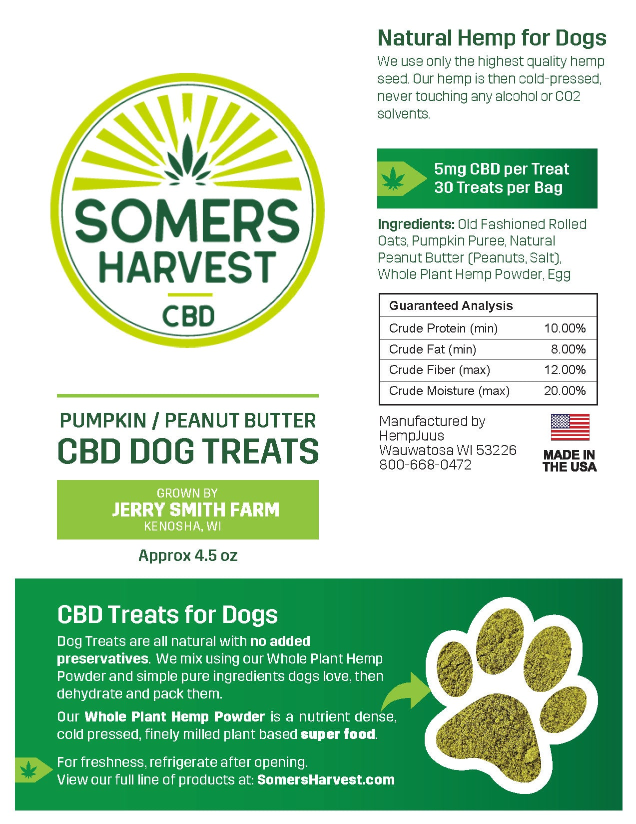 Somers Harvest Dog Treats Package Label