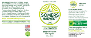 Somers Harvest Hemp Lotion Package Label