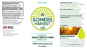Somers Harvest Full Spectrum CBD Oil - Natural Mint Package Label