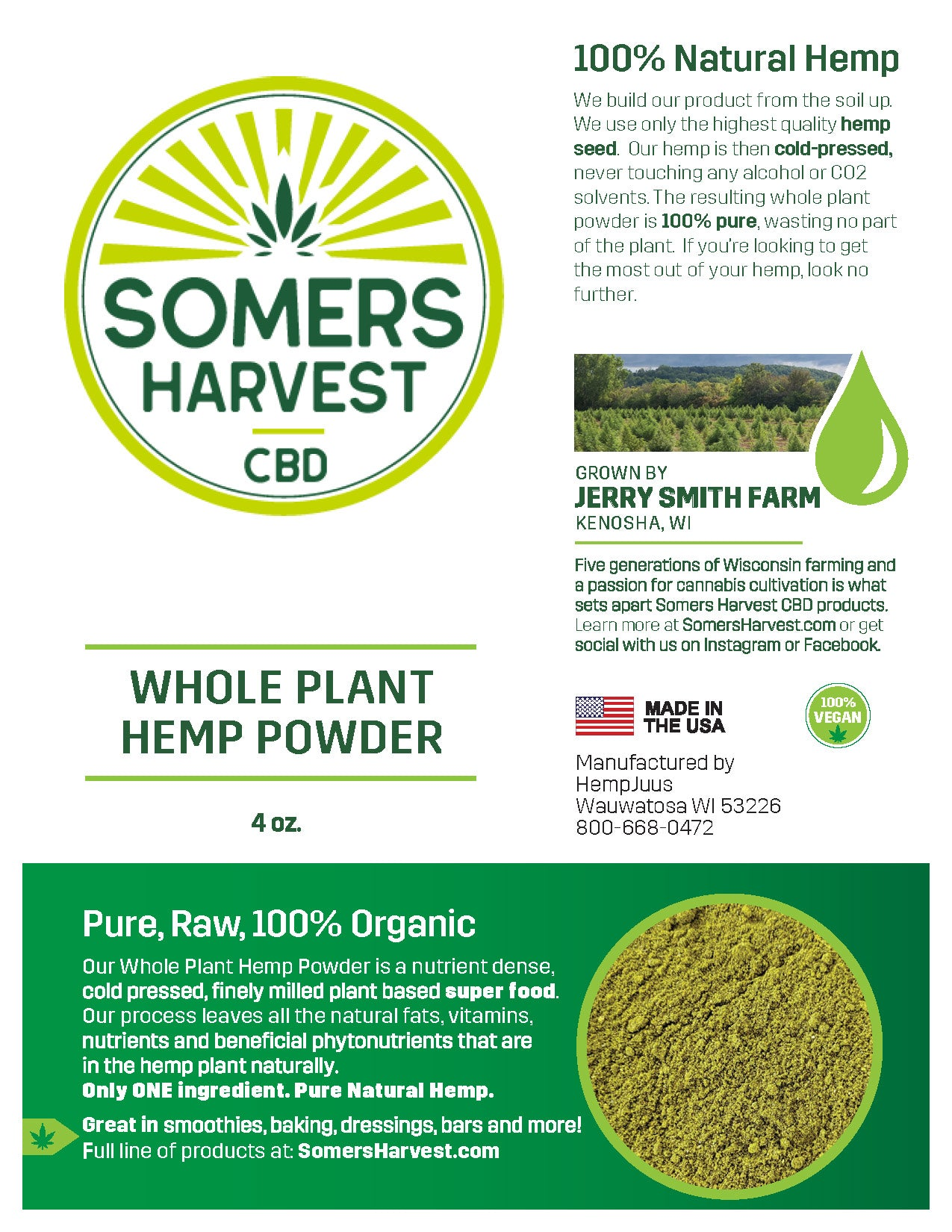 Somers Harvest Whole Plant Hemp Powder Package Label