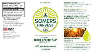 Somers Harvest Full Spectrum CBD Oil - Pure Natural Package Label