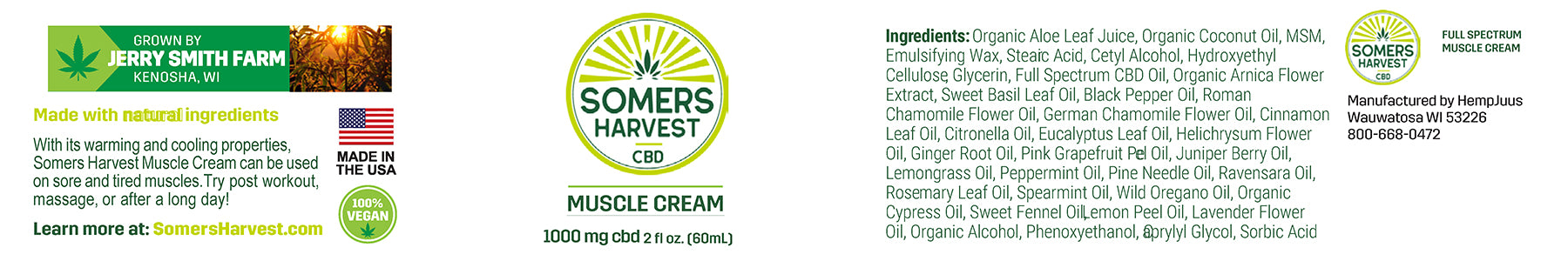 Somers Harvest CBD Muscle Cream Package Label