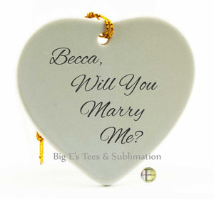 Ornament ~ Porcelain Heart Holiday Christmas Sublimation Ornament, with gold string cord hanger