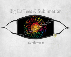 Face Mask ~ Black with Colorful Sunflower