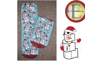 Socks ~ TP Blue Snowflake ~ Snowman Festive Holiday Socks