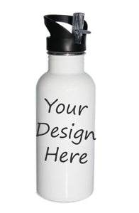 Water Bottle with straw top ~ 20oz Stainless Steel ~ White