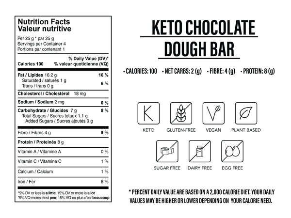 Keto No Baked Chocolate Dough Bar 100g