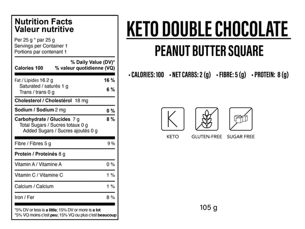 Keto Chocolate Cookie Dough & Peanut Butter Square