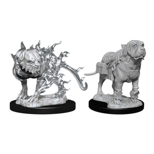 DUNGEONS AND DRAGONS: NOLZUR'S MARVELOUS UNPAINTED MINIATURES -W11-MASTIF AND SHADOW MASTIF