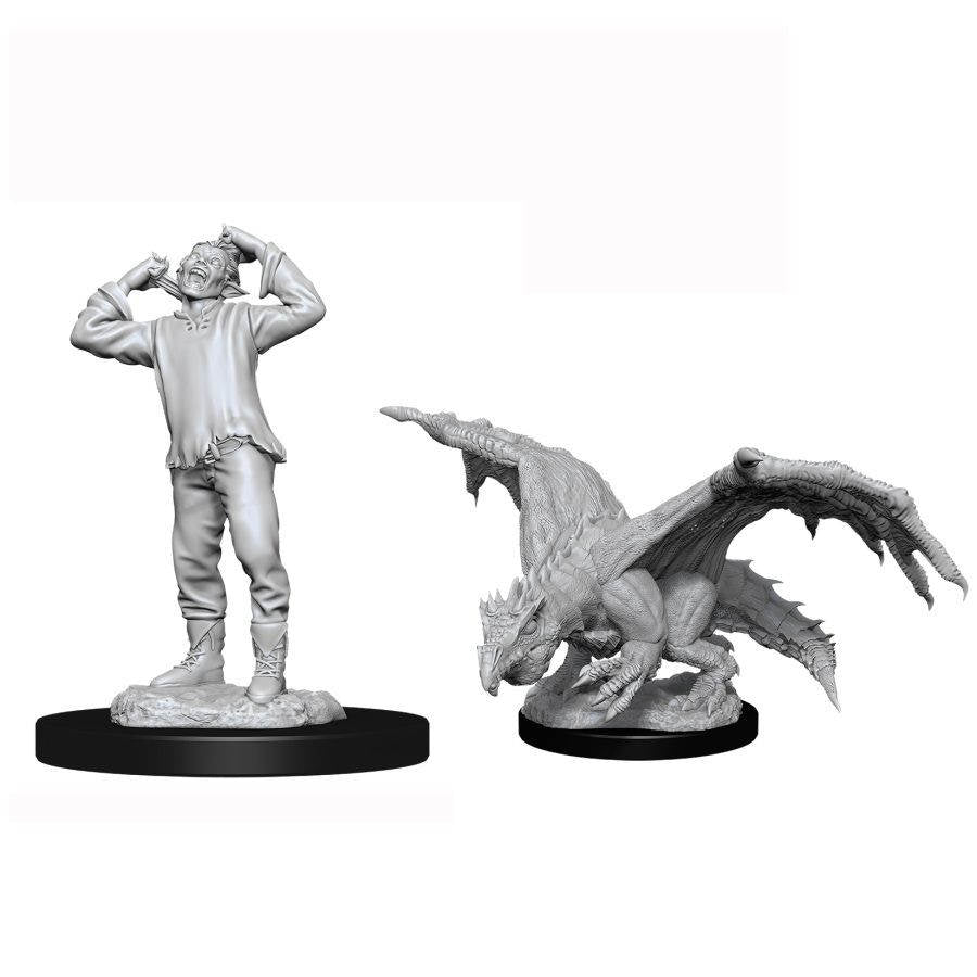 DUNGEONS AND DRAGONS: NOLZUR'S MARVELOUS UNPAINTED MINIATURES -W11-GREEN DRAGON WYRMLING