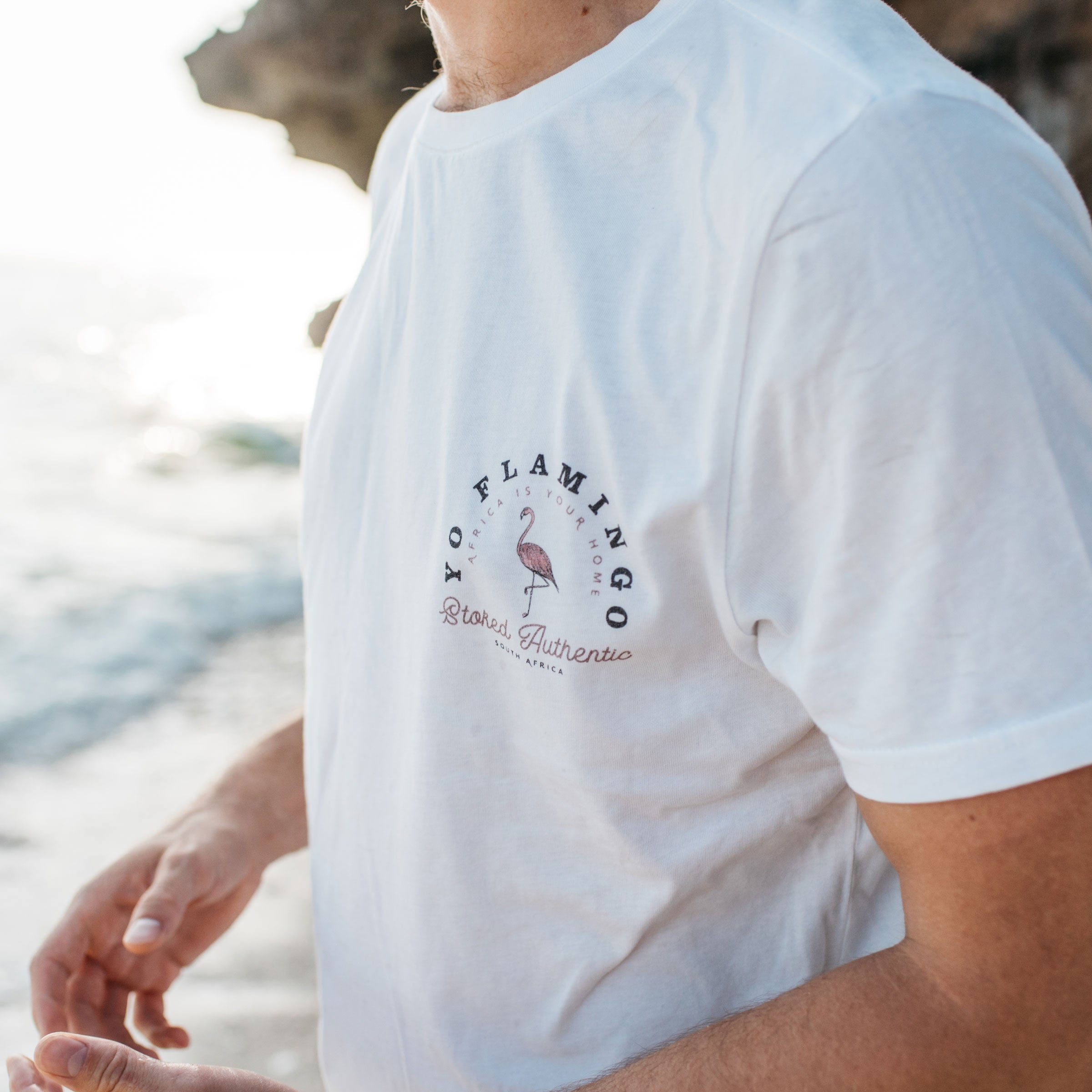 Yo Flamingo T-Shirt - Stokedthebrand. Lifestyle products for outdoor adventures. Made in South Africa