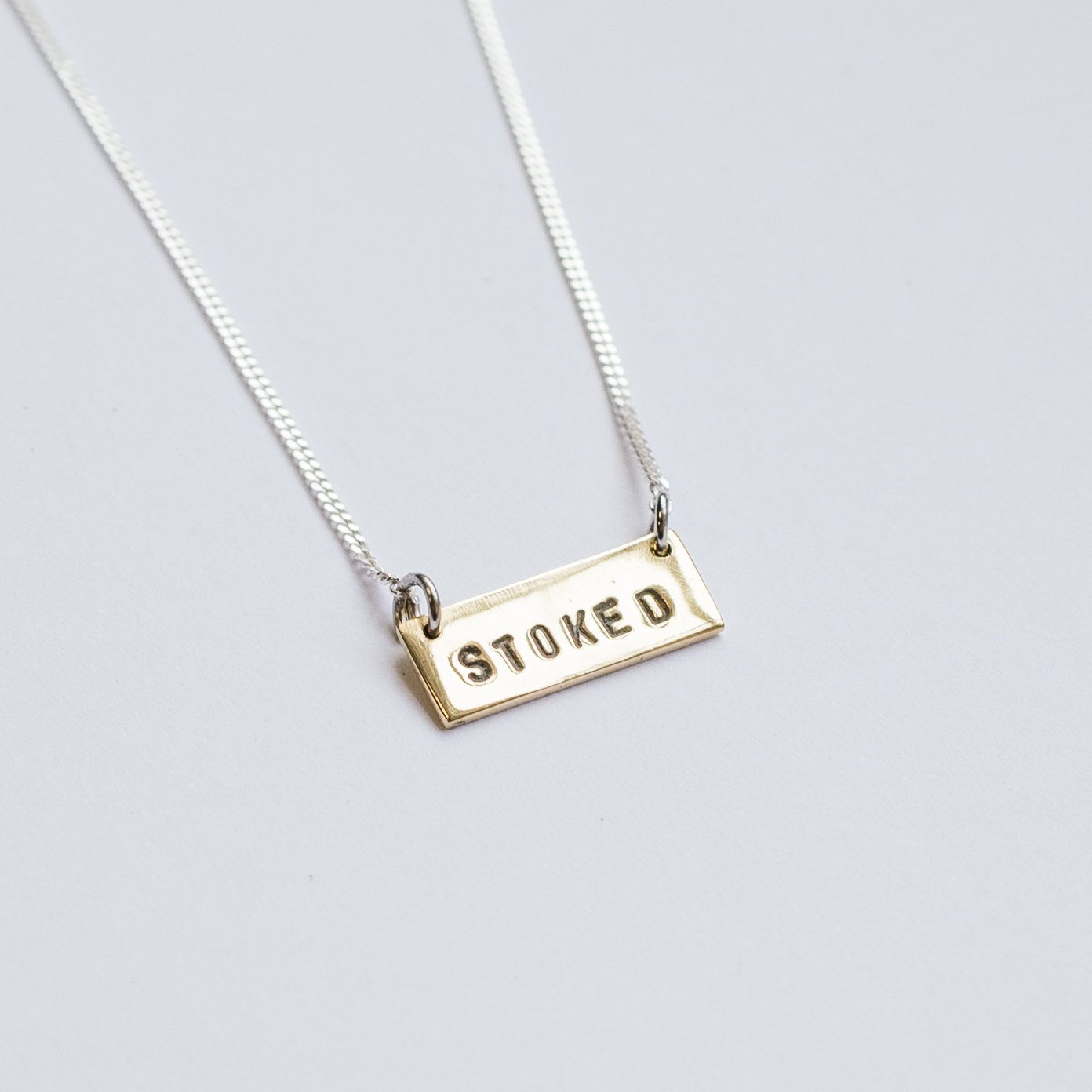 "Brass ""Stoked"" Necklace - Stokedthebrand. Lifestyle products for outdoor adventures. Made in South Africa"