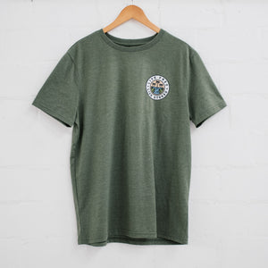 Mens Olive Live Free T-Shirt - Stokedthebrand. Lifestyle products for outdoor adventures. Made in South Africa