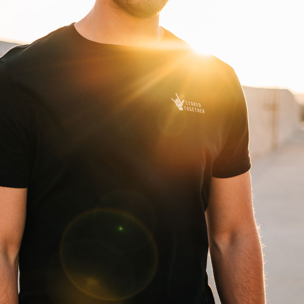 Black Stoked Together T-Shirt - Stokedthebrand. Lifestyle products for outdoor adventures. Made in South Africa