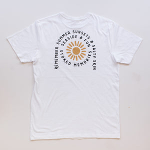 White Sunset Stoke T-Shirt - Stokedthebrand. Lifestyle products for outdoor adventures. Made in South Africa