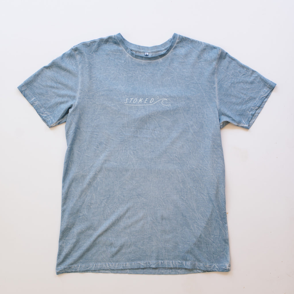 Ocean Washed Minimal Wave T-Shirt - Stokedthebrand. Lifestyle products for outdoor adventures. Made in South Africa