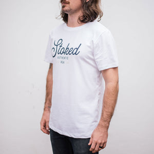 Mens White Stoked T-Shirt - Stokedthebrand. Lifestyle products for outdoor adventures. Made in South Africa