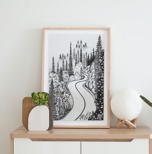 Road to Wilderness • Hand Drawn Print - Stokedthebrand. Lifestyle products for outdoor adventures. Made in South Africa