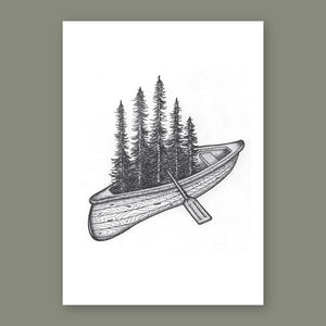 Canoe • Hand Drawn Print - Stokedthebrand. Lifestyle products for outdoor adventures. Made in South Africa