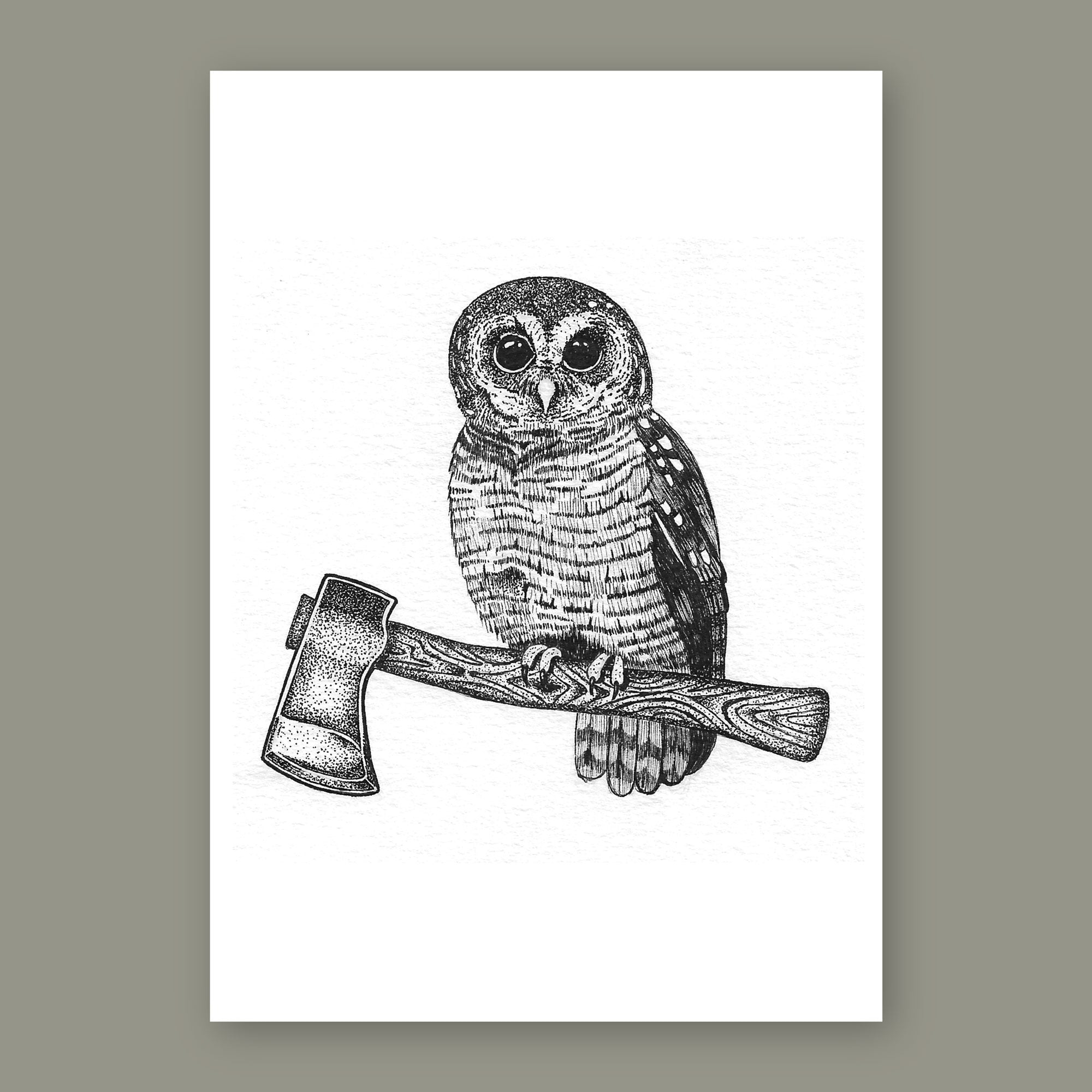Wise Old Owl • Hand Drawn Print - Stokedthebrand. Lifestyle products for outdoor adventures. Made in South Africa
