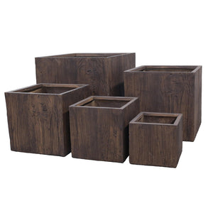 Buckingham Pot - Wood Effect - Set of 5