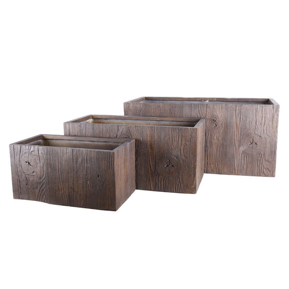 Gatcombe Pot - Wood Effect - Set of 3