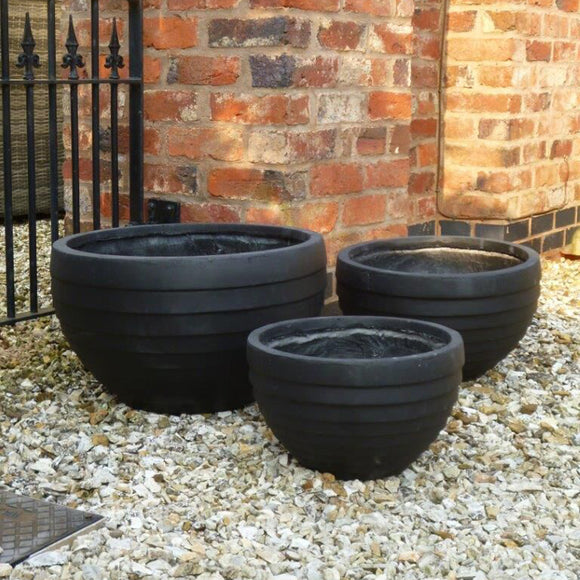 Rockingham Pot - Black - Set of 3