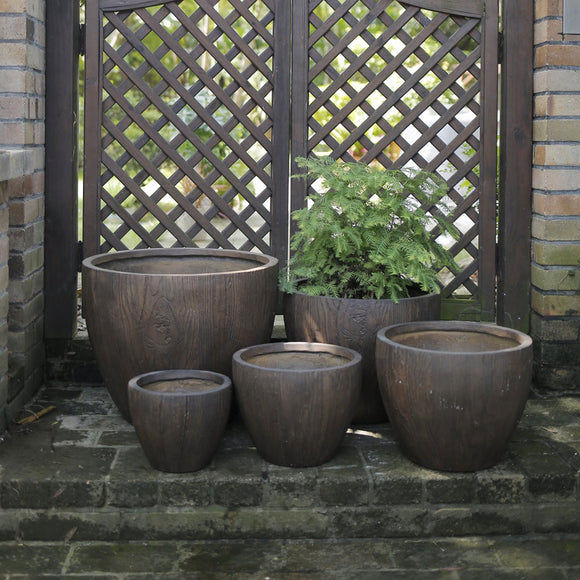 Sudeley Pot - Wood Effect - Set of 5