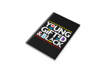 "Load image into Gallery viewer, Young Gifted & Black 1-Subject, 8 1/2""X11"", 3/8"" Ruled Notebook (MATTE BLACK OR SUBTLE SHIMMER)"