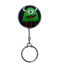 Retractable ID Badge Reel - Green Horned Monster