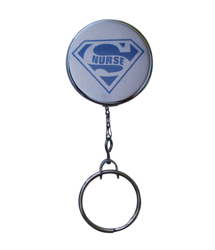 Blue Super Nurse Retractable ID Badge Reel