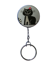 Retractable ID Badge Reel - Smiley Black Cat