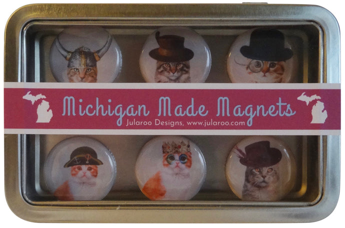 Steampunk Funky Cats Magnets Set of 6