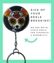 Retractable ID Badge Reel - Chihuahua Day of the Dead Dog