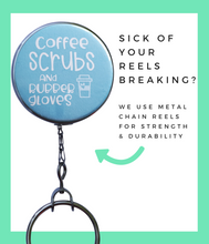 Light Blue Coffee & Scrubs Retractable ID Badge Reel