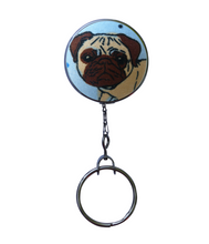 Retractable ID Badge Reel - Skater Pug Dog
