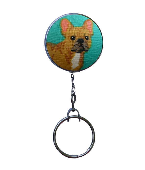 Retractable ID Badge Reel - Turquoise Frenchie Dog