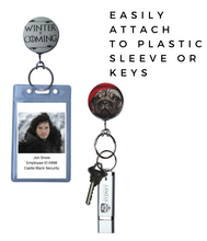 Violet Coffee & Scrubs Retractable ID Badge Reel