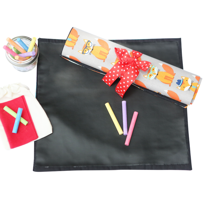 Fox Travel Chalkboard Mat for Creative Kids