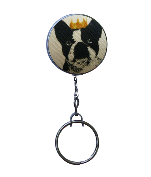 Retractable ID Badge Reel - French Bulldog Wearing Crown