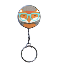Fox with Turquoise Glasses Retractable ID Badge Reel